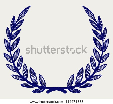 Vector laurel wreath. Doodle style. Raster version
