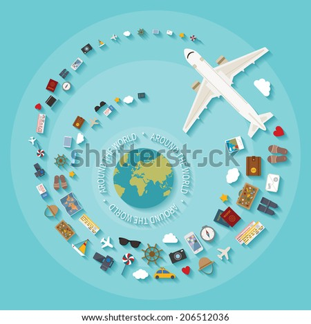 Vector modern flat style concept for tourism industry, travelling on airplane, planning summer vacations. Rasterized version. - stock photo