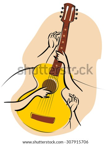 Vector music poster in  retro style - Guitar in the snow with fir branches and arms - stock photo