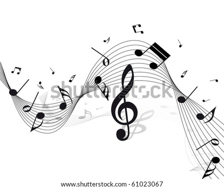 Vector musical notes staff background for design use - stock photo