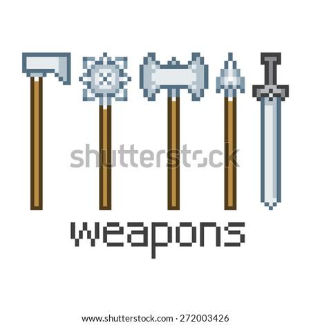 Vector pixel art weapons - stock photo