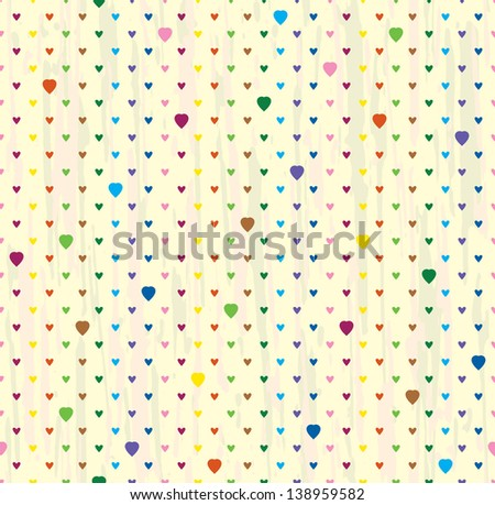 Vector seamless background of hearts. Bright points on a light. raster version