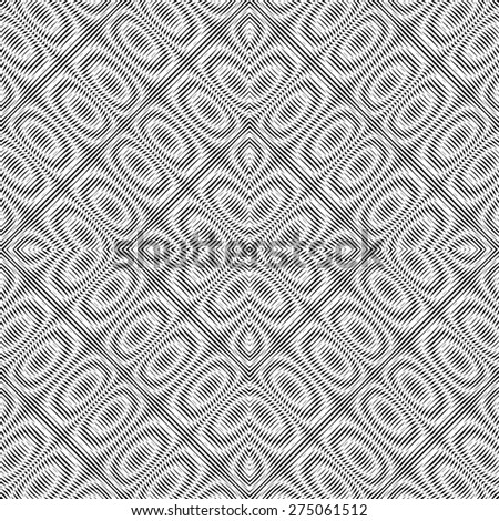 Vector seamless pattern, geometric background Black and white - stock photo