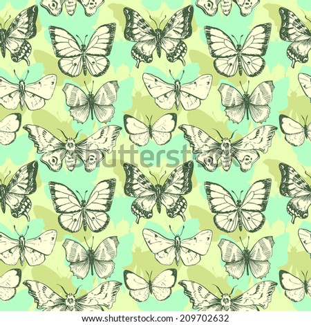 vector seamless pattern of butterflies, hand drawn illustration