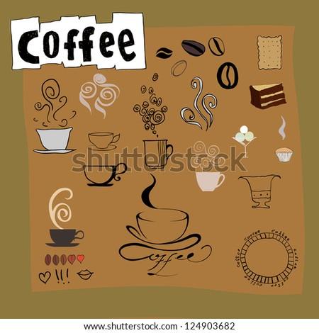 vector set: coffee design elements - stock photo