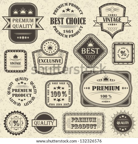 Vector set of retro labels and icons - stock photo