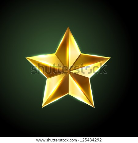 Vector shiny bronze star - raster version - stock photo