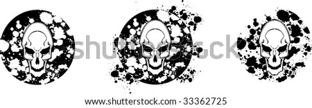 vector skulls couple with scattered brushes details. see portfolio for different composition