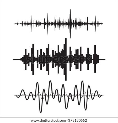 Vector sound waves set - stock photo