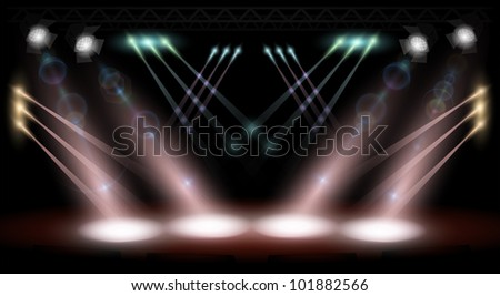 vector stage lighting - stock photo