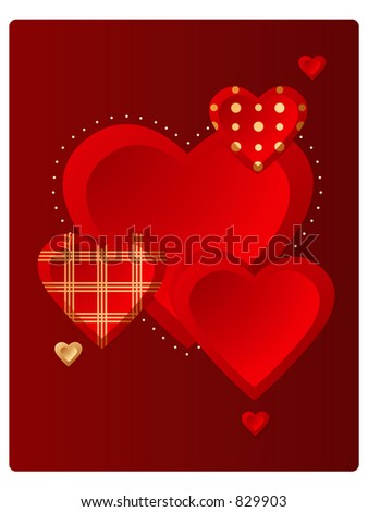 Vector valentine hearts! - stock photo