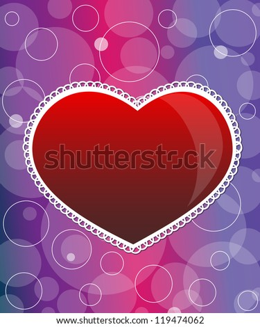 Vector valentine's day card with hearts - stock photo
