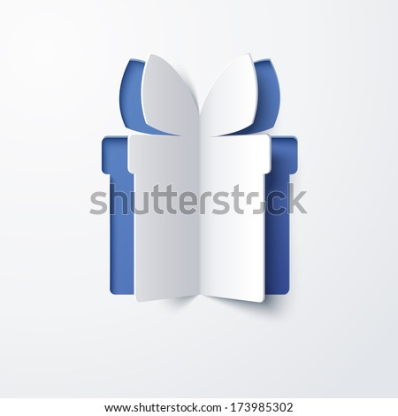 Vector white paper Christmas box on a blue matte background. Abstract design. Raster version. - stock photo