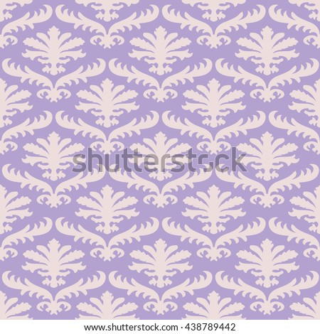 Vector wrapping leaves damask seamless floral pattern background for website, wallpaper repeating foliage floral western damask flower organic lavender drapery luxury tiled decor old revival venetian  - stock photo