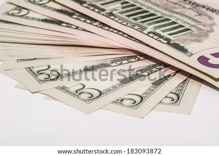 Veer of five Dollar bills, super macro photography - stock photo