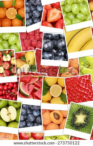 Vegan and vegetarian fruits background with apples, oranges, lemons, banana and strawberry - stock photo