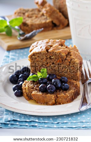 Vegan healthy apple carrot sweet bread with fresh blueberry - stock photo