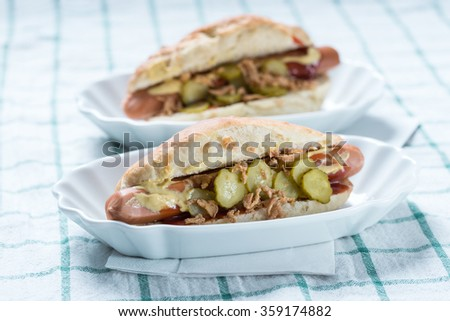 Vegan hot dog with soy sausage - stock photo