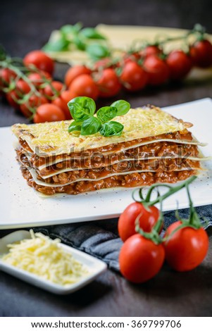 Vegan Lasagne with soy meat - stock photo