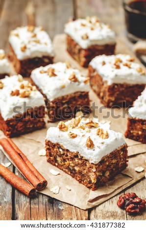 vegan walnuts carrot cake with cashew cream frosting. toning. selective focus