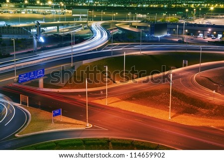 Vegas Airport Traffic - Long Exposure Panoramic Las Vegas Airport Photography. Nevada Photo Collection. - stock photo