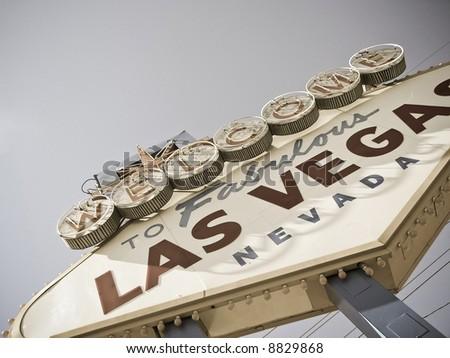vegas sign (retro color) - stock photo