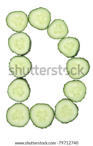 Vegetable Alphabet of chopped cucumber  - letter D - stock photo