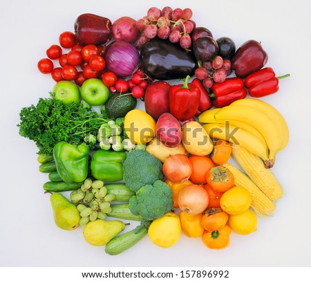 Vegetable and fruit health tricolor - stock photo