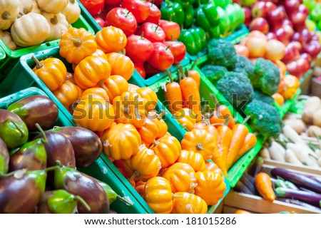 Vegetable and fruits at a market - stock photo