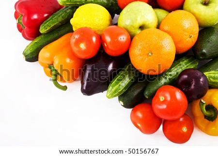 vegetable and fruits isolated on white background - stock photo