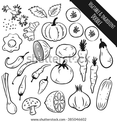 vegetable and ingredient doodle isolated on white background - stock photo