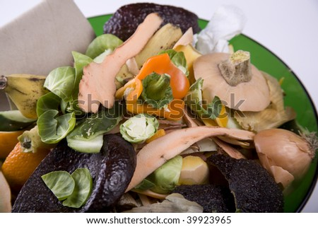 Vegetable and paper scraps ready for the compost bin - stock photo