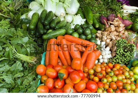 vegetable background on stall in asian market - stock photo