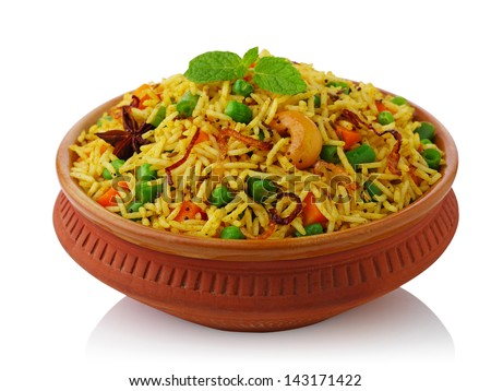 vegetable biryani - stock photo