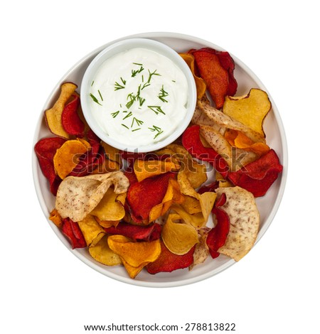 Vegetable Chips Exotic Blend isolated on white. Selective focus. - stock photo
