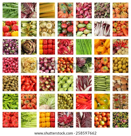vegetable collage, Italy - stock photo