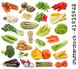 Vegetable collection isolated on a white background. - stock photo