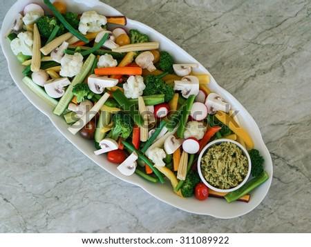 Vegetable Crudites and Dip/ vegetable platter, healthy eating - stock photo