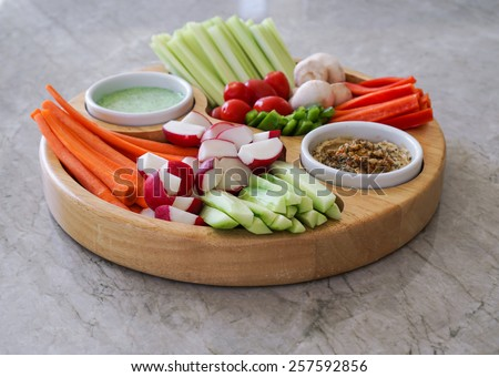 Vegetable Crudites and Dips/ vegetable platter, healthy eating - stock photo