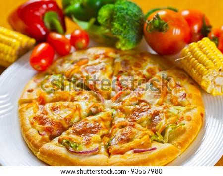 vegetable flavor pizza - stock photo