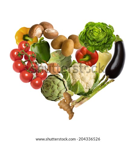 vegetable heart isolated on white background - stock photo