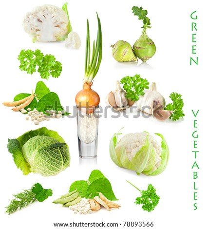 Vegetable, herbs and fruit set. Vegetarian food on white background