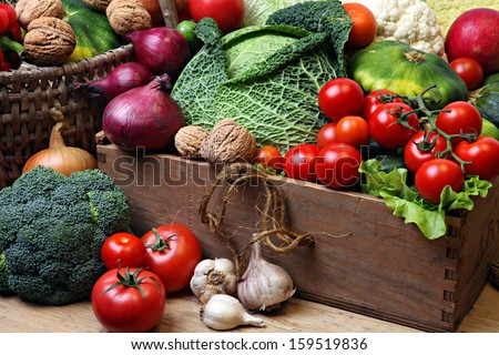 Vegetable in wooden box. - stock photo