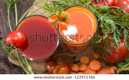 Vegetable Juices with fresh ingredients - stock photo