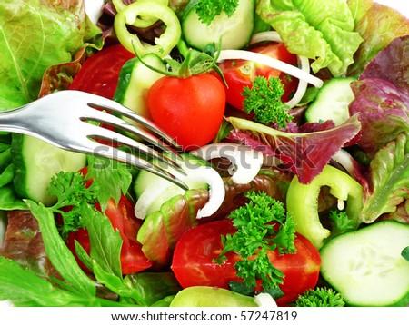 vegetable : lettuce, tomato, cucumber, onion, pepper,herbs - stock photo