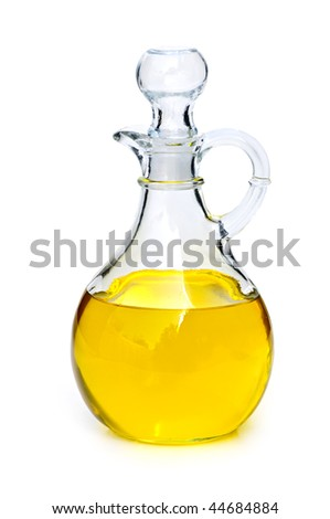 Vegetable oil bottle isolated on white background - stock photo