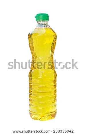 Vegetable oil in plastic bottle isolated on white background - stock photo
