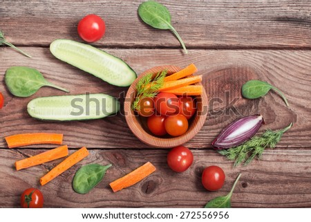 vegetable on wooden background - stock photo