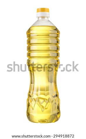 vegetable or sunflower oil in plastic bottle isolated with clipping path included - stock photo