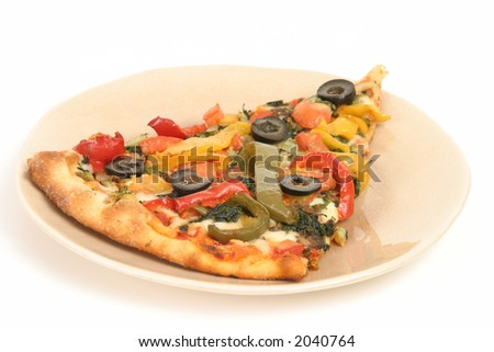 Vegetable Pizza (Isolated) - stock photo